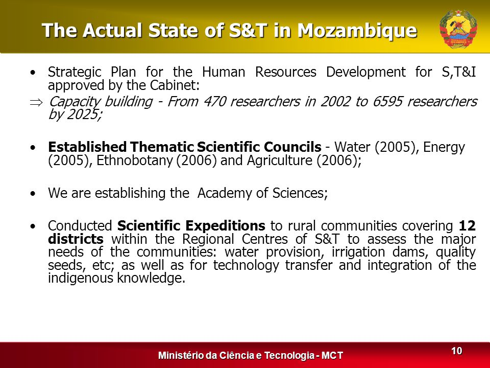 The Actual State of S&T in Mozambique