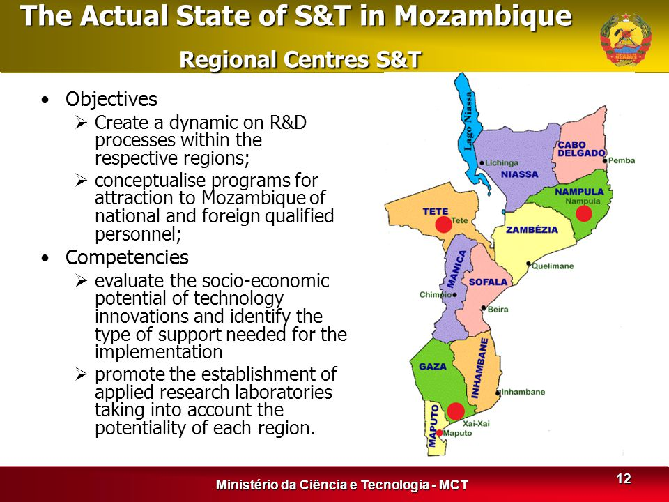 The Actual State of S&T in Mozambique Regional Centres S&T