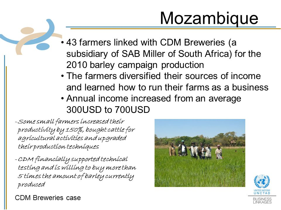 Mozambique 43 farmers linked with CDM Breweries (a subsidiary of SAB Miller of South Africa) for the 2010 barley campaign production.