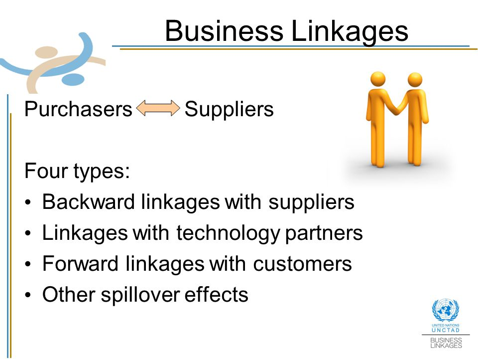 Business Linkages Purchasers Suppliers Four types: