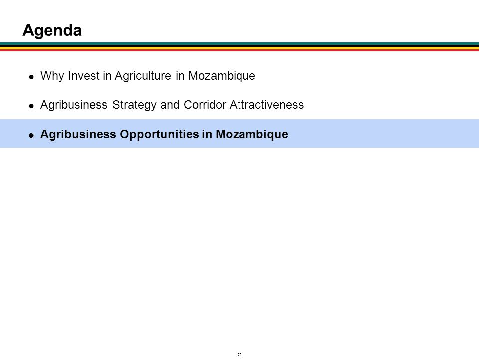 Agenda Why Invest in Agriculture in Mozambique