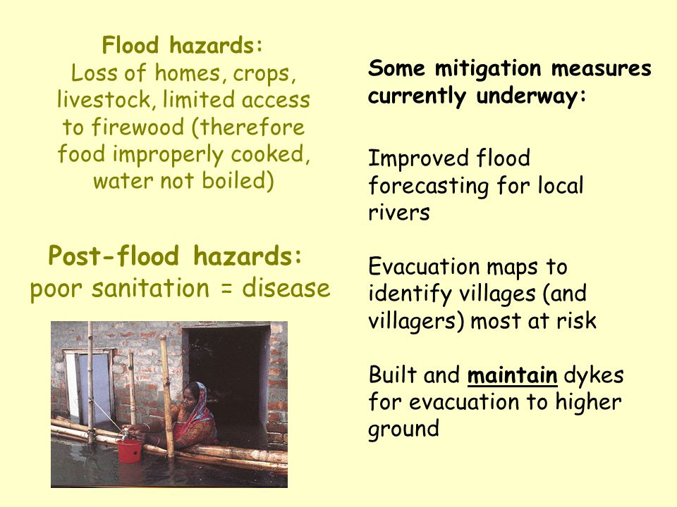 Post-flood hazards: poor sanitation = disease