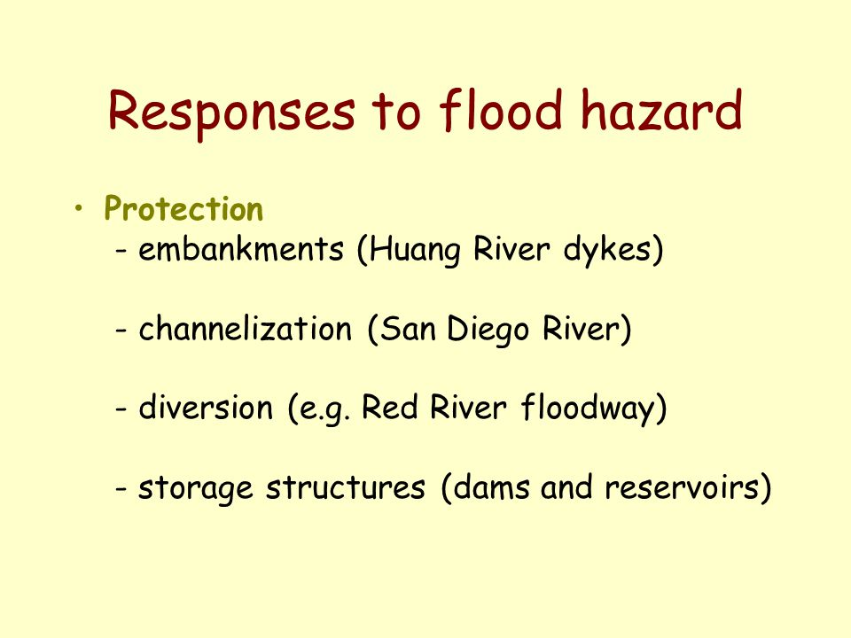 Responses to flood hazard