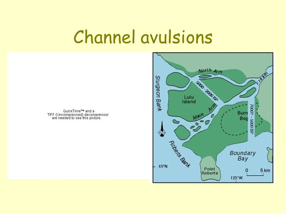 Channel avulsions 1) the Atchafalaya/Mississippi, and