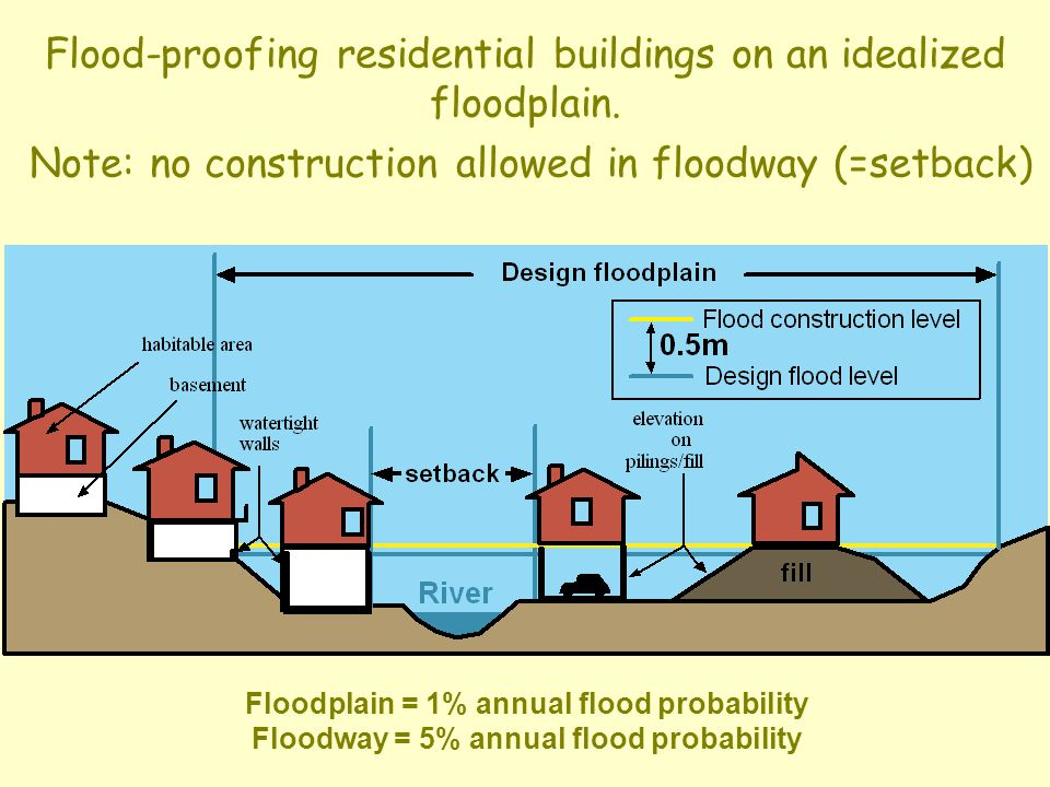 Flood-proofing residential buildings on an idealized floodplain