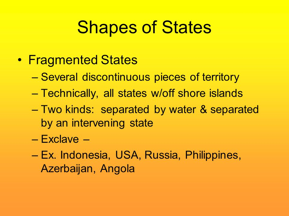 Shapes of States Fragmented States