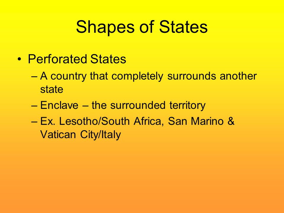 Shapes of States Perforated States