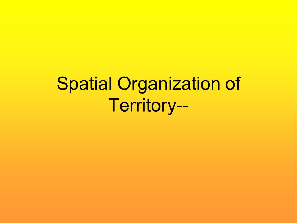 Spatial Organization of Territory--