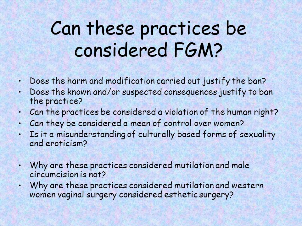 Can these practices be considered FGM