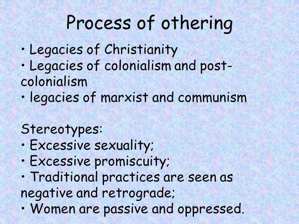 Process of othering • Legacies of Christianity
