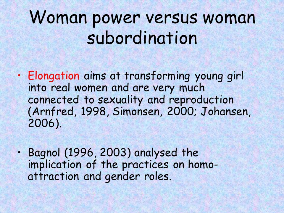 Woman power versus woman subordination