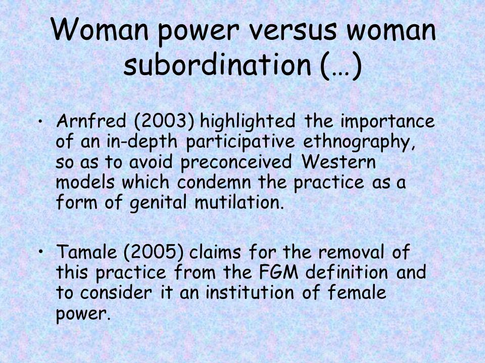 Woman power versus woman subordination (…)