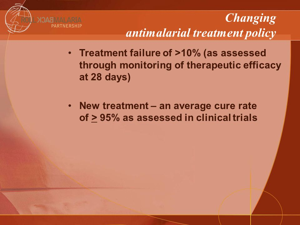Changing antimalarial treatment policy