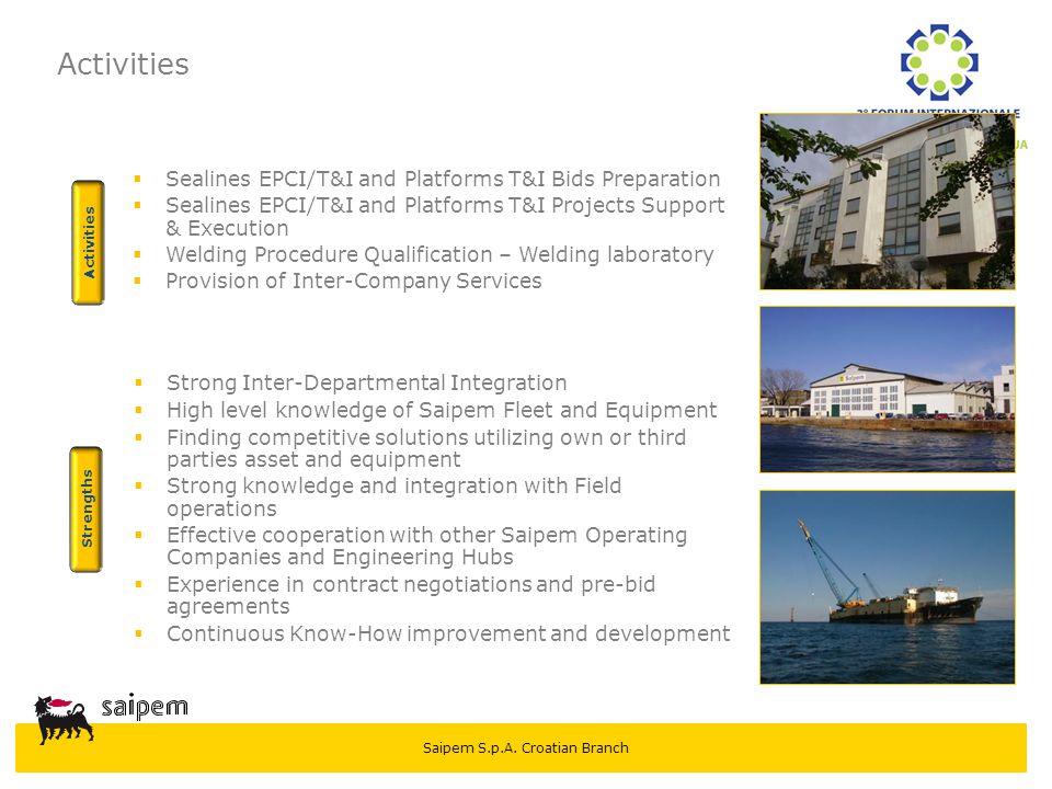 Activities Sealines EPCI/T&I and Platforms T&I Bids Preparation