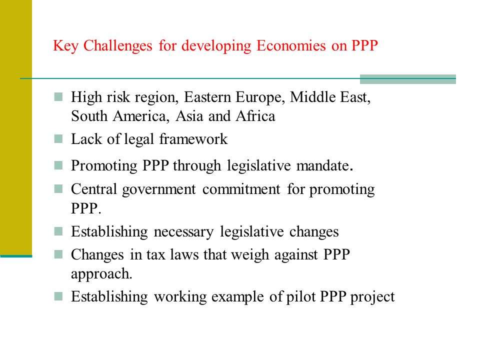 Key Challenges for developing Economies on PPP