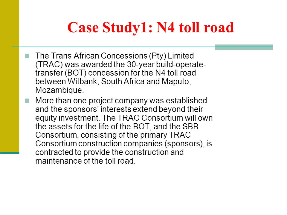 Case Study1: N4 toll road