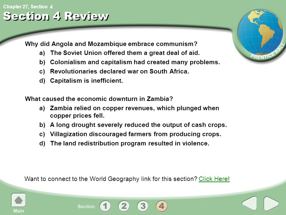 Section 4 Review Why did Angola and Mozambique embrace communism