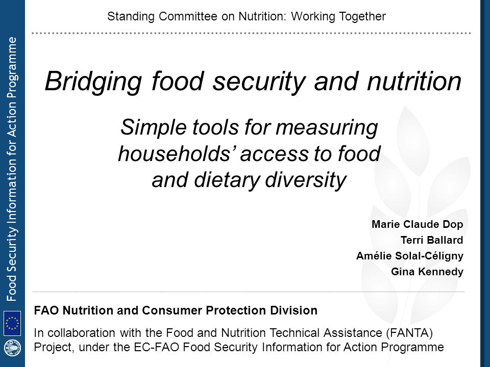Bridging food security and nutrition