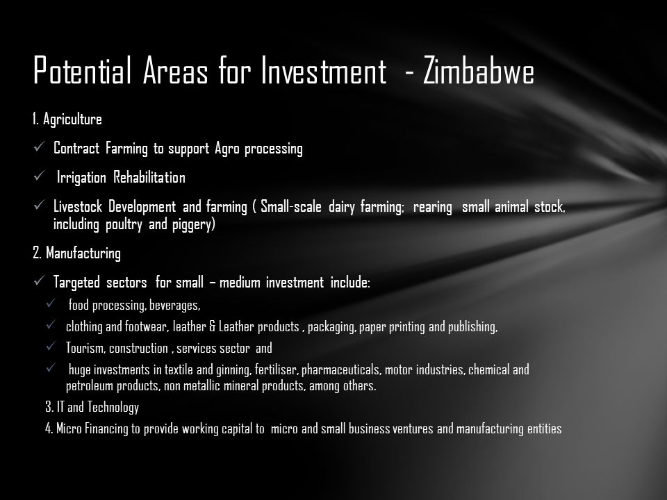 Potential Areas for Investment - Zimbabwe
