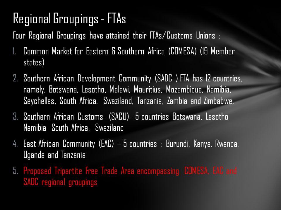 Regional Groupings - FTAs
