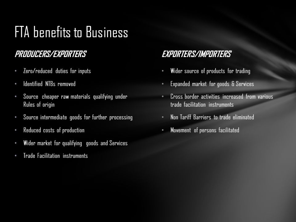 FTA benefits to Business