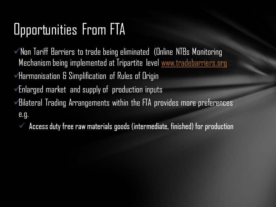 Opportunities From FTA