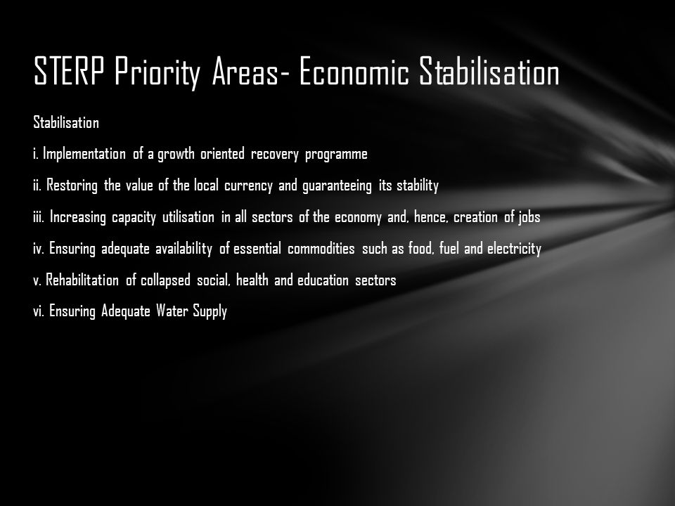 STERP Priority Areas- Economic Stabilisation