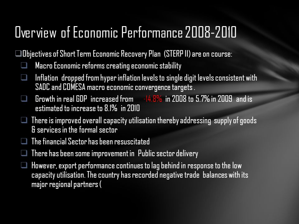 Overview of Economic Performance 2008-2010