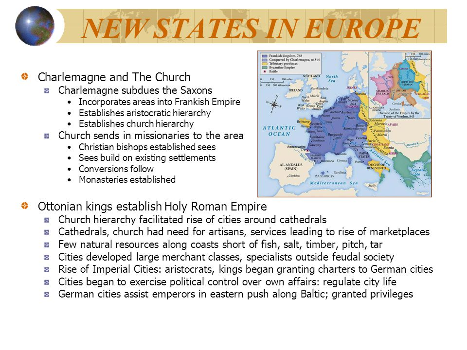 NEW STATES IN EUROPE Charlemagne and The Church
