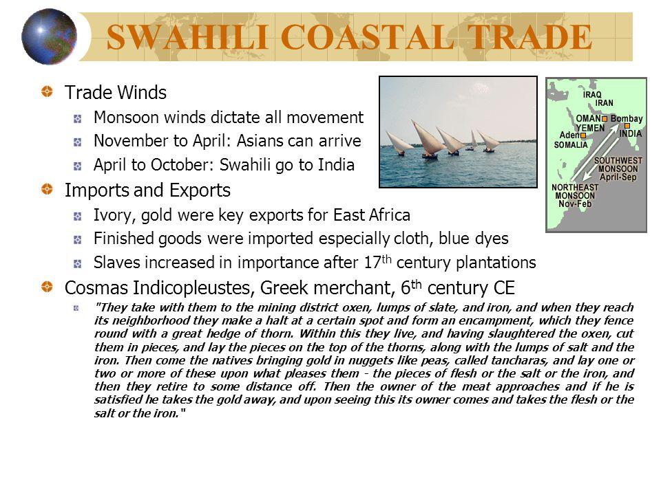 SWAHILI COASTAL TRADE Trade Winds Imports and Exports