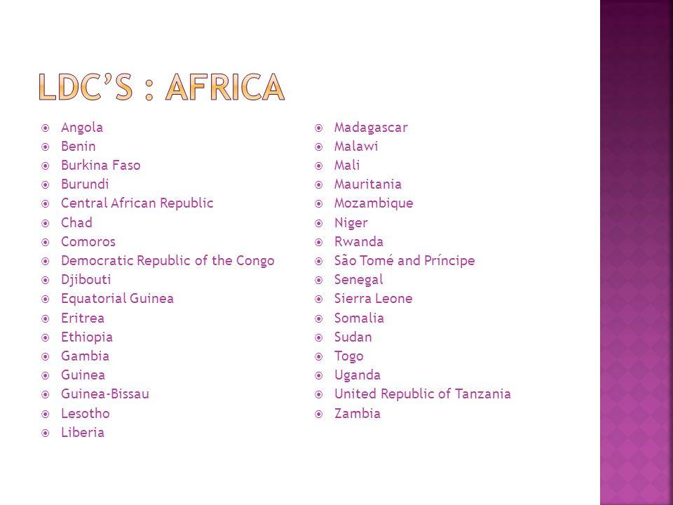 LDC's : AFrica Angola Benin Burkina Faso Burundi