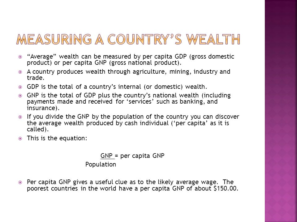 Measuring a Country's Wealth