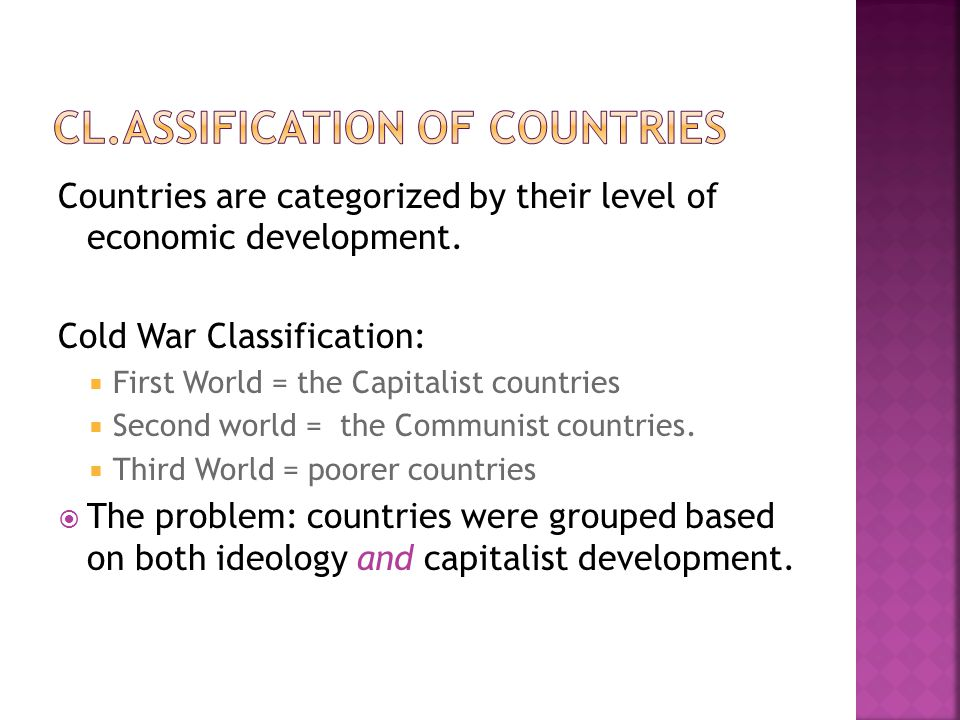 Cl.Assification of Countries
