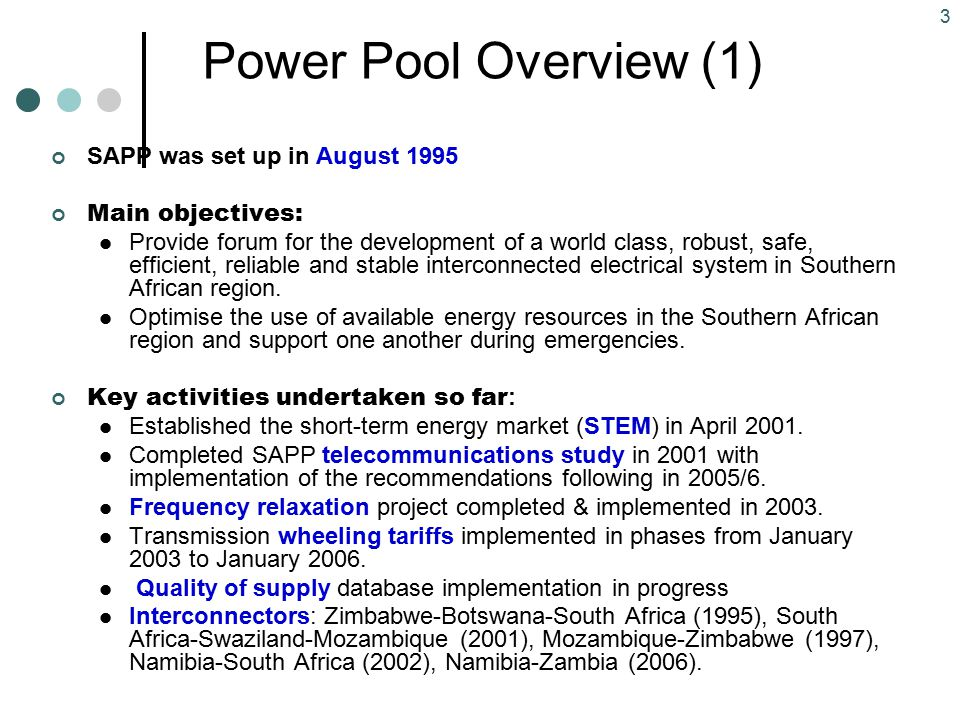 Power Pool Overview (1) SAPP was set up in August 1995
