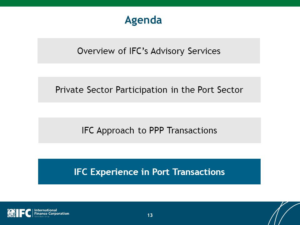 IFC Experience in Port Transactions