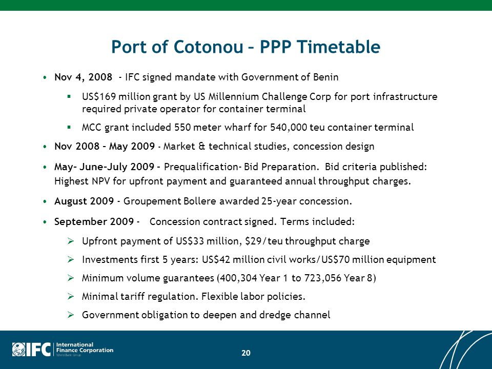 Port of Cotonou – PPP Timetable