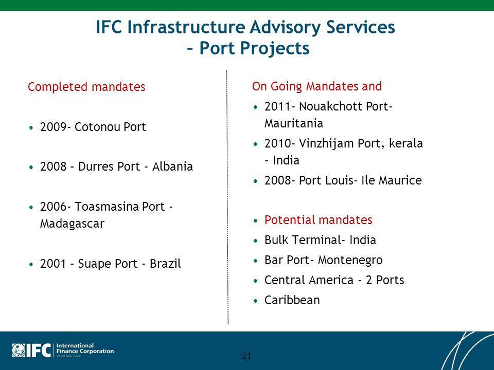 IFC Infrastructure Advisory Services – Port Projects