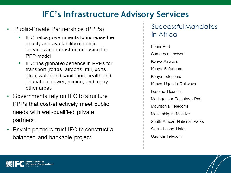 IFC's Infrastructure Advisory Services