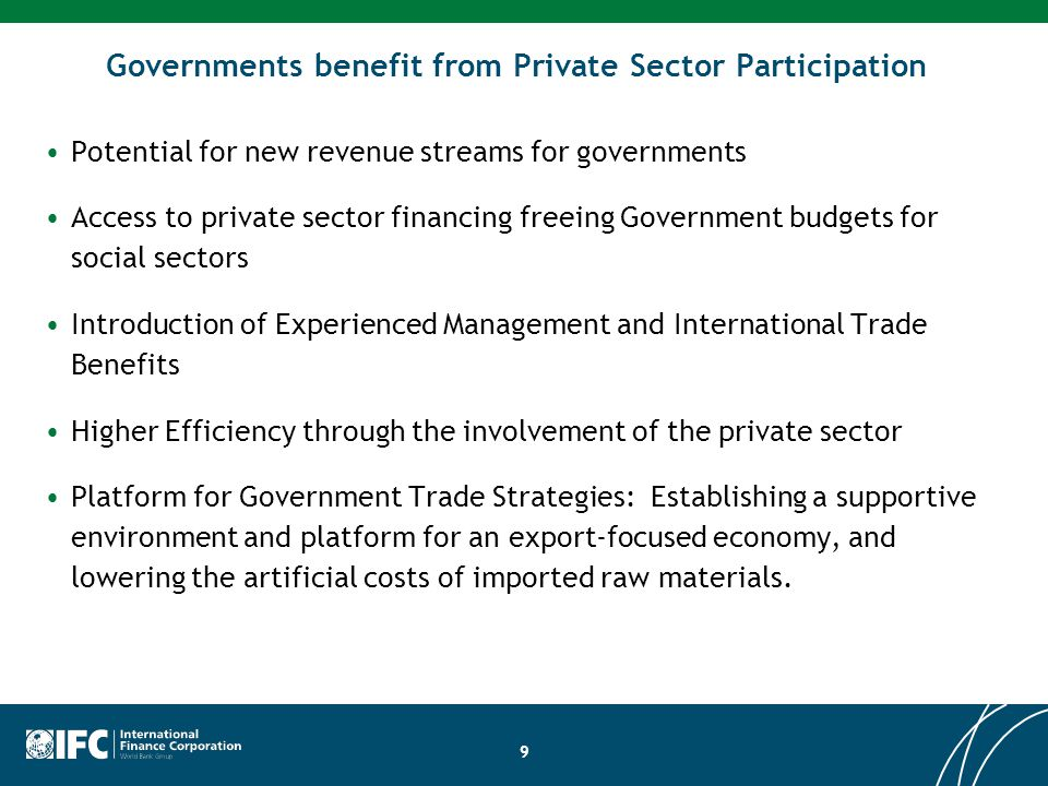 Governments benefit from Private Sector Participation