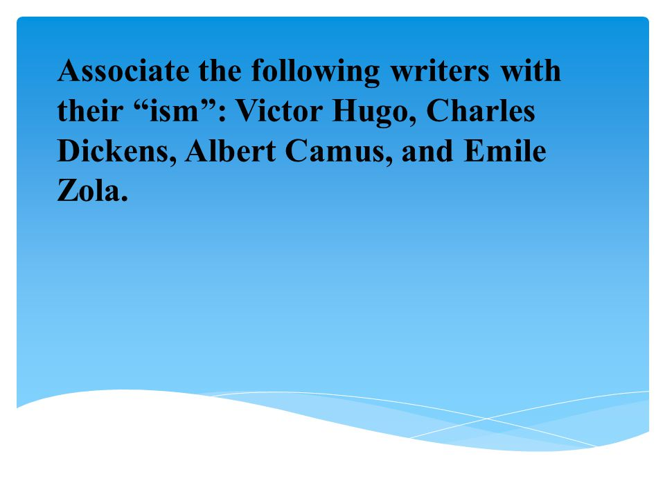 Associate the following writers with their ism : Victor Hugo, Charles Dickens, Albert Camus, and Emile Zola.