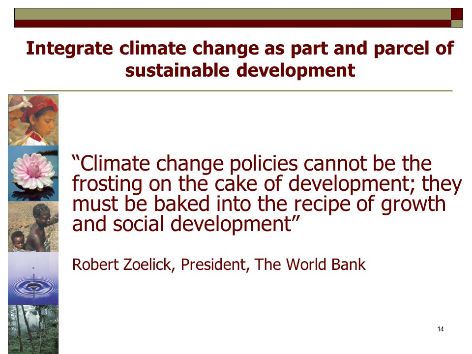Integrate climate change as part and parcel of sustainable development