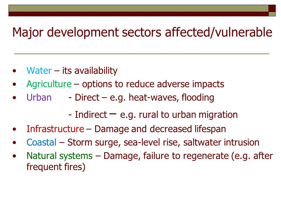 Major development sectors affected/vulnerable