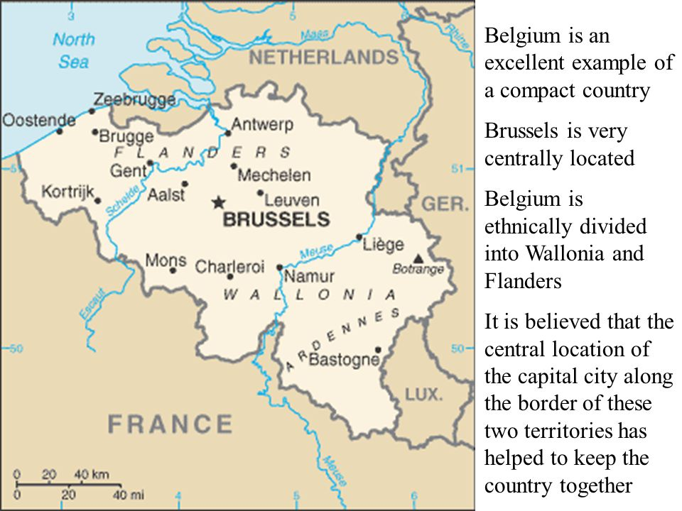 Belgium is an excellent example of a compact country