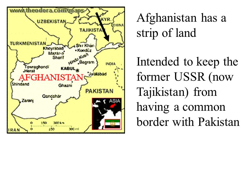 Afghanistan has a strip of land