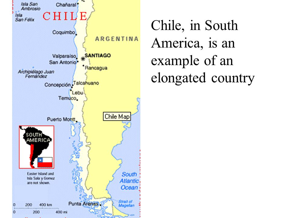 Chile, in South America, is an example of an elongated country