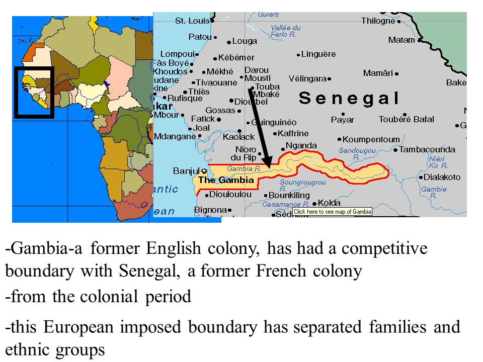 -Gambia-a former English colony, has had a competitive boundary with Senegal, a former French colony