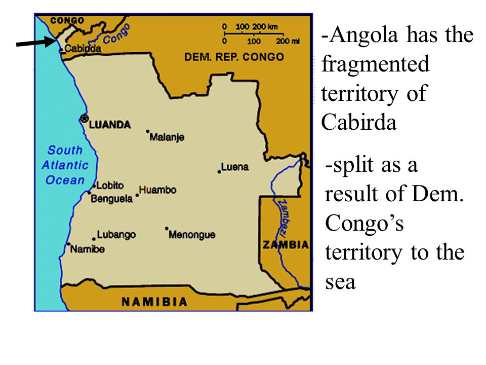 -Angola has the fragmented territory of Cabirda