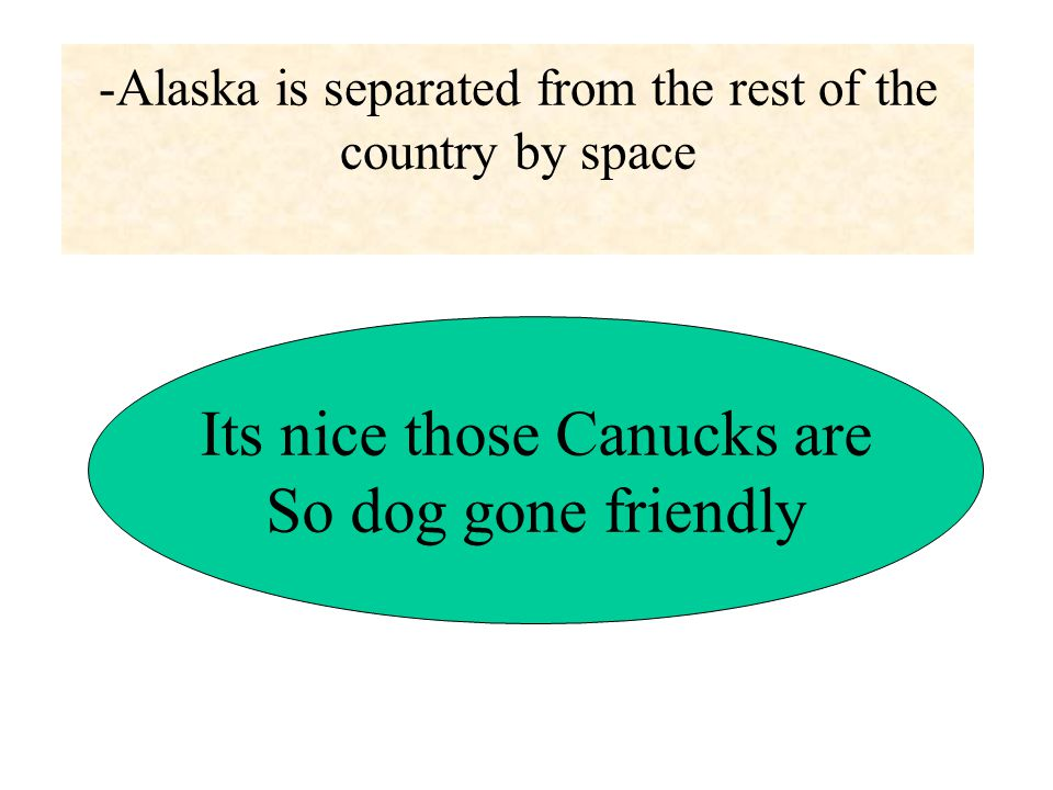 -Alaska is separated from the rest of the country by space