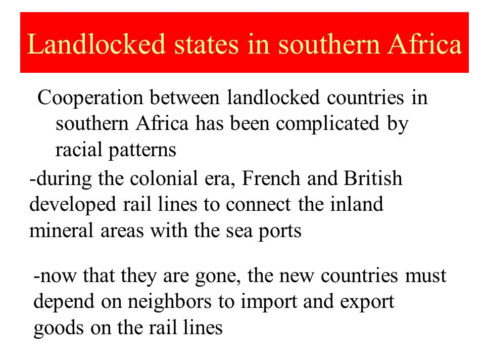 Landlocked states in southern Africa