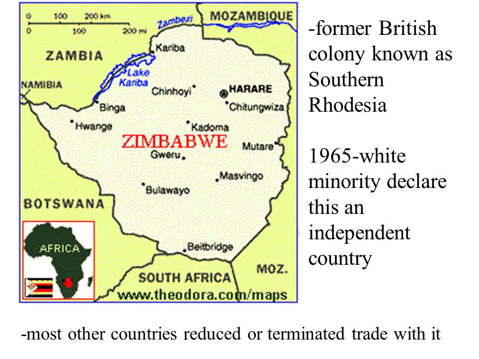 -former British colony known as Southern Rhodesia